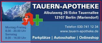 Tauern-Apotheke Ihre Versandapotheke mit Onlinesho in Berlin