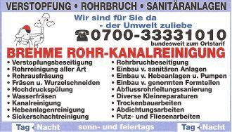 Firma 24 h | Brehme Rohrreinigung und Kanalreinigung aus Berlin